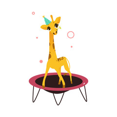 vector cartoon stylized cheerful giraffe character jumping on trampoline wearing party hat happily smiling. isolated illustration on a white background. Animals party concept