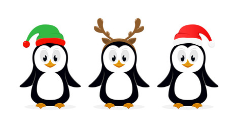 Three Christmas penguins on white background