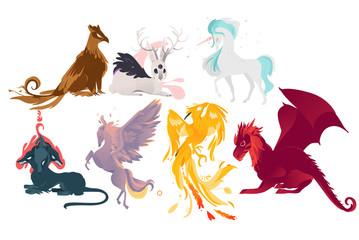 Set of mythical, mythological creates, animals - unicorn, jackalope, phoenix, pegasus, cerberus, griffon, dragon, flat cartoon vector illustration isolated on white background. Set of mythical animals
