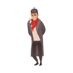 Stereotypical English, British man in Sherlock Holmes hunting cap and raincoat, smoking pipe, flat style vector illustration isolated on white background. Typical Englishman smoking pipe, wearing coat
