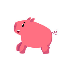 vector flat cartoon style funny stylized pink colored piglet character. Isolated illustration on a white background. Farm countryside animals concept, livestock