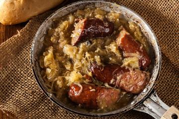 Sauerkraut braised with sausages