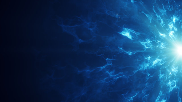 Blue fractal clouds on edge abstract sci-fi background