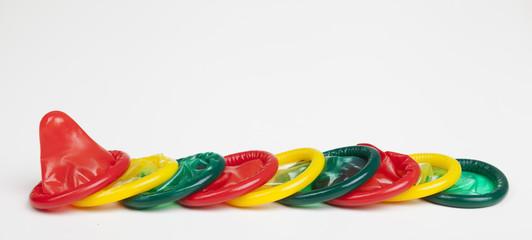 bunte kondom mischung