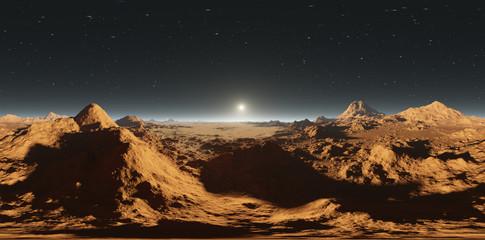 Panorama of Mars sunset, environment HDRI map. Equirectangular projection, spherical panorama. Martian landscape, 3d illustration