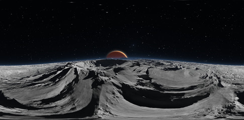 Panorama of Phobos with the red planet Mars in the background, environment HDRI map. Equirectangular projection, spherical panorama. 3d illustration