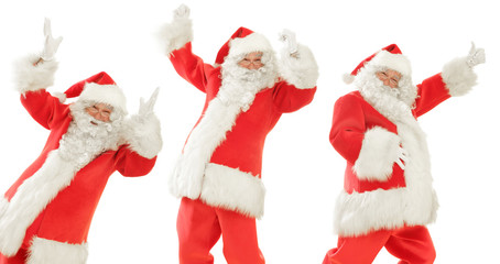 Santa Claus times Three, doing a happy Dance, Posing smiling and giving the Thumbs Up, Isolated on White Cut out