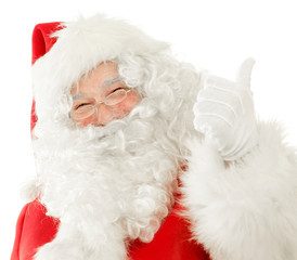 Happy Santa Claus giving the Thumbs Up while cutely smiling, Isolated on White Background cut out