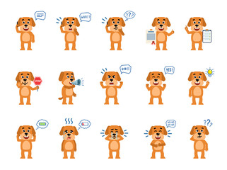 Set of funny yellow dog characters showing different actions. Cheerful dog talking on phone, thinking, holding stop sign, loudspeaker and showing other actions. Flat style vector illustration