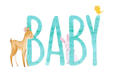 Watercolor baby word illustration