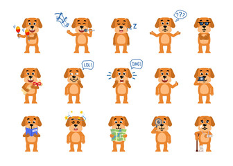 Set of funny yellow dog characters showing different actions. Cheerful dog karaoke singing, celebrating, sleeping, reading book and showing other actions. Flat style vector illustration