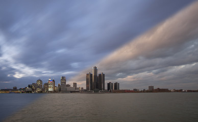 Detroit Skyline sunset and twilight