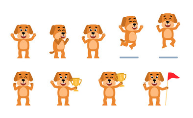 Set of funny yellow dog characters showing different success poses. Cheerful dog celebrating, holding golden cup, jumping and showing other actions. Flat style vector illustration