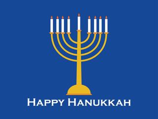Happy Hanukkah greeting card. Candlestick with nine candles. Vector illustration