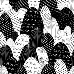 Vector seamless doodle background with abstract textured mountains. Creative nature illustration. Hand drawn black white landscape.