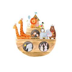 Fototapete - Watercolor baby Noah Ark