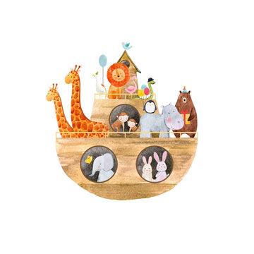 Watercolor baby Noah Ark