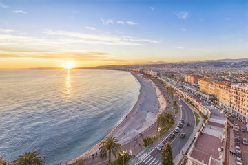 Aluminium Prints Nice Coast of Azure on sunset in Nice, French Rivera