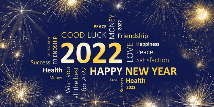 Happy new year 2022 greeting card