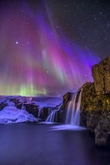 Tuinposter Noorderlicht Northern lights Kirkjufellsfoss