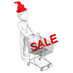 "3d people - human character, person with shopping cart and word ""sale"". 3d illustration"