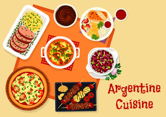 Argentine cuisine lunch menu with dessert icon