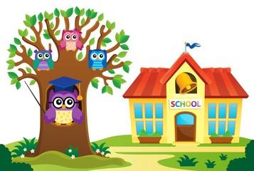 Tree and owls near school theme 1