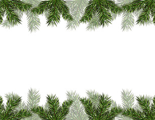 New Year Christmas. Flyer, business cards, cards, invitations. Green branches of trees from above and from below. illustration