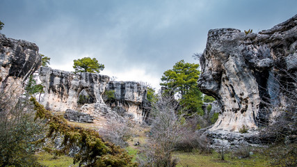 Karstic unreal formations with holes in Cuenca