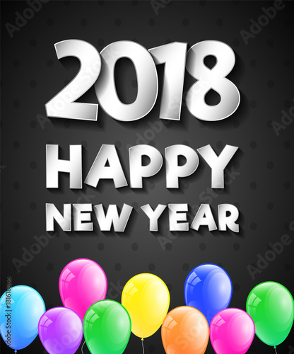 Happy New Year 2018 - beautiful poster. Vector.\
