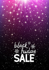 Black friday background with shining stars