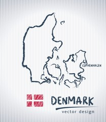 Denmark national vector drawing map on white background