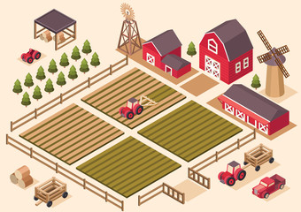 Vector isometric farm elements.