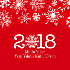 2018 Happy new year vector greeting card. Winter snow card   Turkish- Mutlu Yillar