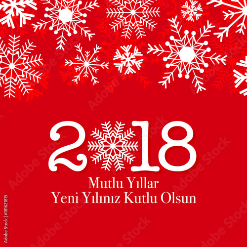 2018 happy new year vector greeting card winter snow card turkish 2018 happy new year vector greeting card winter snow card turkish mutlu yillar m4hsunfo
