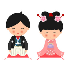 Cute janpanese boy and girl wear Kimono dress and sit on the pillow vector design