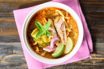 Northern Thai food (Khao soi), curry noodles soup with chicken