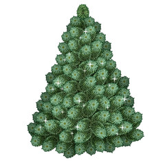 Realistic green Christmas tree. Traditional holiday symbol. Tree without toys. Vector illustration isolated on white background.