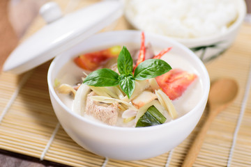 Thai food (Tom Kha Kai),Thai coconut milk soup with chicken and cooked rice