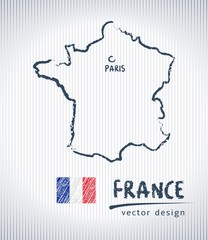 France vector chalk drawing map isolated on a white background