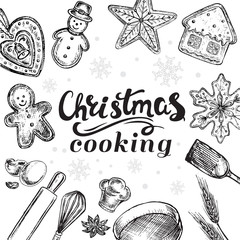 hand drawn sketch illustration christmas cooking