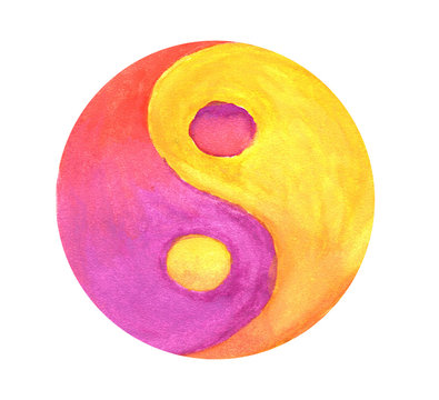 Yellow-purple Yin-Yang symbol in watercolor