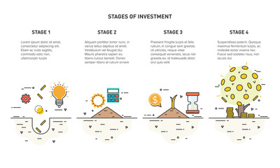 Flat line icon concept of Money Growth, Invest. Stages of investment. The growth of the money tree. Vector illustration.