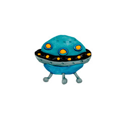 plasticine 3D UFO spaceship sculpture