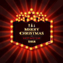 Gold Christmas banner with light bulbs