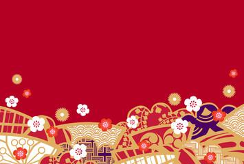 年賀イメージ 和柄の扇と松 赤背景
