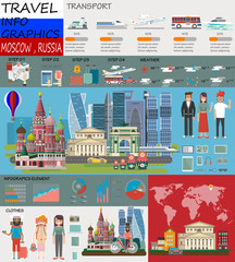 Travel infographic.Moscow infographic tourist sights of China; welcome to Moscow. Russia infographic. Travel to Moscow presentation template