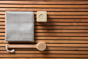 eco-friendly shower or traditional body care concept, top view