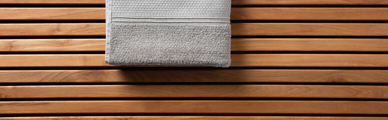 Half grey towel for spa, hammam or sauna, long banner