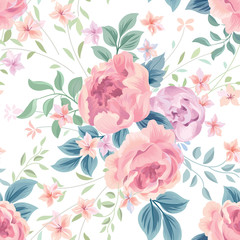 Floral seamless pattern. Flower rose white background. Flourish wallpaper with flowers.